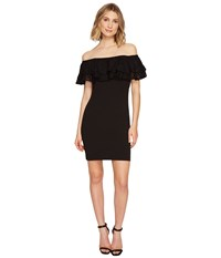 Jessica Simpson Solid Scuba Ruffle Off The Shoulder Dress Black