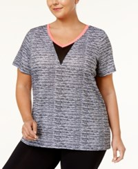 Material Girl Active Plus Size Open Back V Neck Top Only At Macy's Noir Space Dye