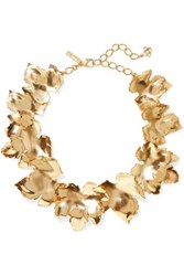 Oscar De La Renta Grape Leaf Gold Tone Necklace