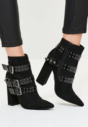 Missguided Black Multi Strap Pointed Toe Ankle Boots