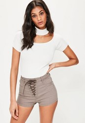 Missguided Brown Lace Up High Waisted Denim Shorts Taupe