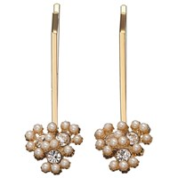 John Lewis Faux Pearl And Cubic Zirconia Cluster Hair Grips Pack Of 2 Gold