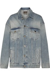 Roberto Cavalli Oversized Paneled Stretch Denim Jacket Mid Denim