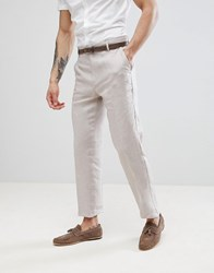 United Colors Of Benetton Wedding Regular Fit Linen Suit Trousers In Stone Stone 903