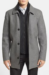 Vince Camuto Melton Car Coat With Removable Bib Heather Grey