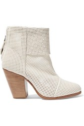 Rag And Bone Classic Newbury Perforated Leather Ankle Boots Ivory