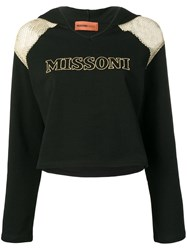 Missoni Mare Mesh Shoulder Logo Hoodie Black