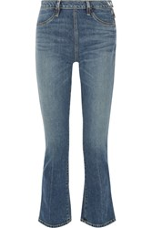 Elizabeth And James Nerd Cropped Mid Rise Flared Jeans Mid Denim