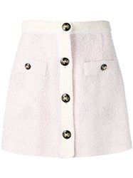 Alessandra Rich Button Up Knitted Skirt Pink