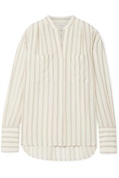 Frame Oversized Striped Gauze Shirt Off White