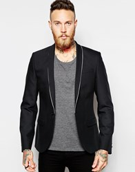 Religion X Noose And Monkey Blazer With Stretch And Lapel Piping In Skinny Fit Black