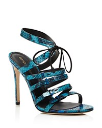 Sergio Rossi Zoe Snakeskin Strappy High Heel Sandals Turquoise