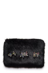 Shrimps Twinkle Embellished Faux Fur Clutch