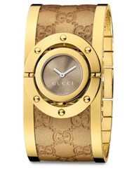 Gucci Twirl Goldtone Stainless Steel And Metallic Leather Bangle Bracelet Watch Gold Brown