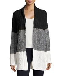 Neiman Marcus Knit Colorblock Cardigan Sweater Black Charcoal Ivory