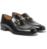 Gucci Mister Horsebit Collapsible Heel Leather Loafers Black
