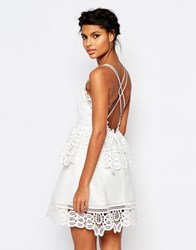Self Portrait Lace Trimmed Dress In White With Strappy Back White