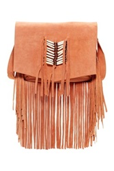 Raj Maria Fringe Suede Messenger Bag Orange