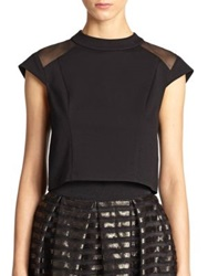 Abs By Allen Schwartz Ponte Mesh Panel Cropped Top Ivory Black