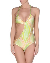 Just Cavalli Beachwear One Piece Suits Acid Green