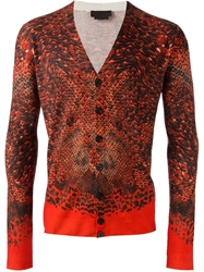 Alexander Mcqueen Snakeskin Print Cardigan Yellow And Orange