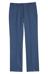 Santorelli Flat Front Solid Wool Trousers Med Blue