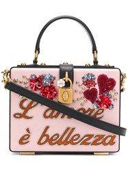 Dolce And Gabbana Embellished Box Bag Pink And Purple
