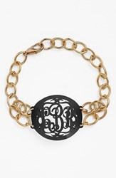 Women's Moon And Lola 'Annabel' Medium Oval Personalized Monogram Bracelet Ebony Gold Nordstrom Exclusive