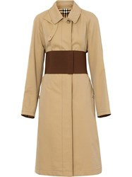 Burberry Corset Belt Cotton Gabardine Car Coat Neutrals
