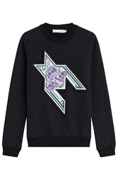 Mary Katrantzou Embroidered Sweatshirt With Sequins Blue