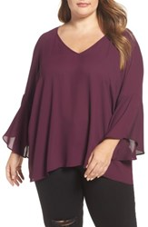 London Times Plus Size Women's Bell Sleeve Blouse Eggplant