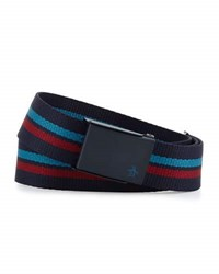 Original Penguin 3 D Striped Web Belt Blue
