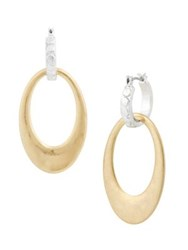 Lucky Brand April Chase Two Tone Hoop Earrings