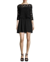 Joie Lace Top 3 4 Sleeve Dress Black