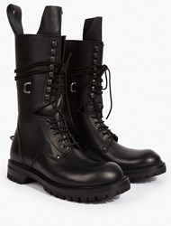 Rick Owens Black Leather Military Boots