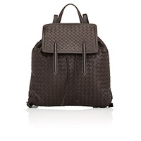 Bottega Veneta Women's Intrecciato Flap Backpack Dark Brown