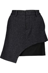 Marissa Webb Sloan Layered Wool Blend And Crepe Mini Skirt Midnight Blue
