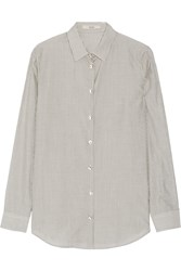 Etro Striped Silk And Cotton Blend Shirt Gray