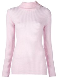 Balmain Ribbed Knit Jumper Pink And Purple