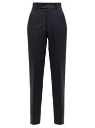 Martine Rose Checked Wool Twill Trousers Navy