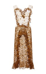 Rodarte Amber Hand Embroidered Honeycomb Dress Brown