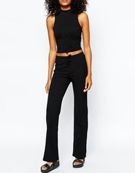 Monki Knitted Flare Trousers Black
