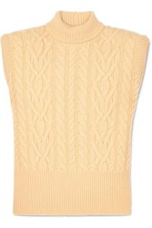 Attico Cable Knit Wool Turtleneck Sweater Pastel Yellow