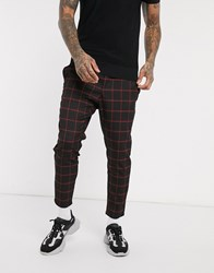 Only And Sons Check Trousers In Tapered Crop Fit In Black Red