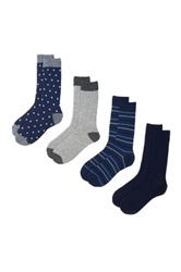 Lucky Brand Dots And Stripes Crew Cut Socks Pack 4 Blue