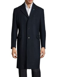 Eidos Single Breasted Cashmere Blend Overcoat Navy