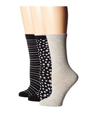 Steve Madden 3 Pack Pattern Crew Socks Connfetti Women's Crew Cut Socks Shoes Gray