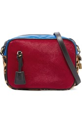 J.Crew Signet Paneled Calf Hair And Leather Shoulder Bag Claret