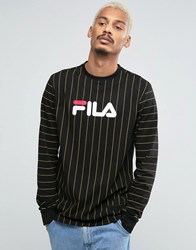 Fila Vintage Black Long Sleeve T Shirt With Pin Stripe Black