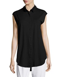 Eileen Fisher Petite Solid Button Down Shirt Black